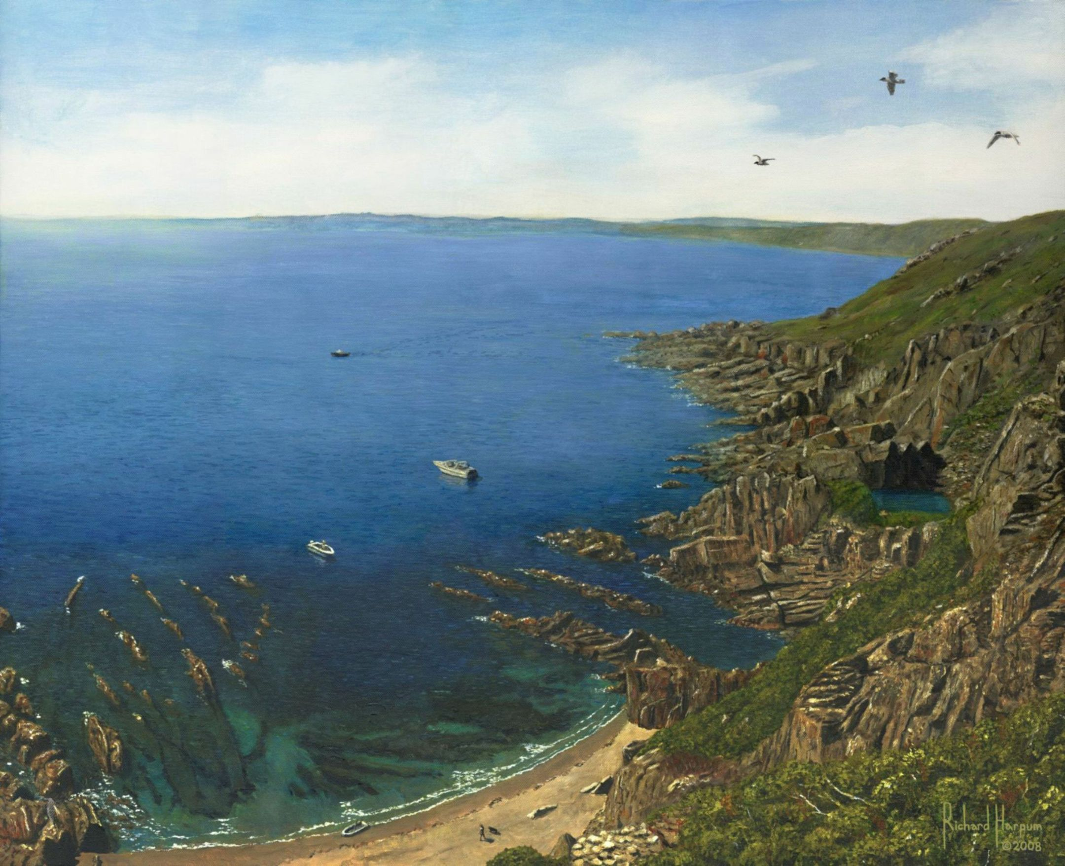 Painting - Whitsand Bay from Rame Head, Cornwall