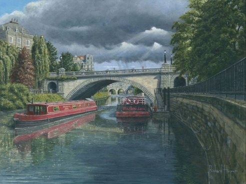 Painting - Escaping the Storm - North Parade Bridge, Bath