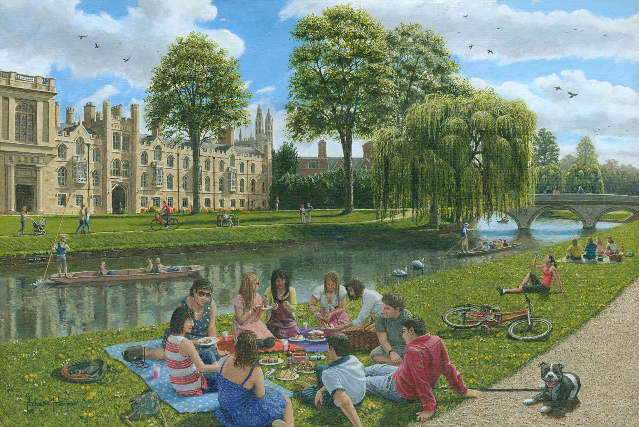 Painting - Fun on the River Cam, Cambridge
