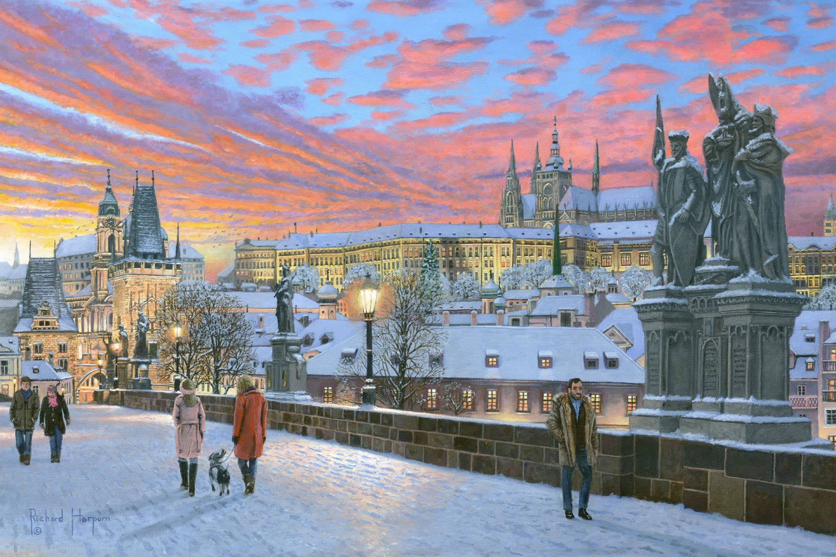 Painting - Charles Bridge Prague in Winter