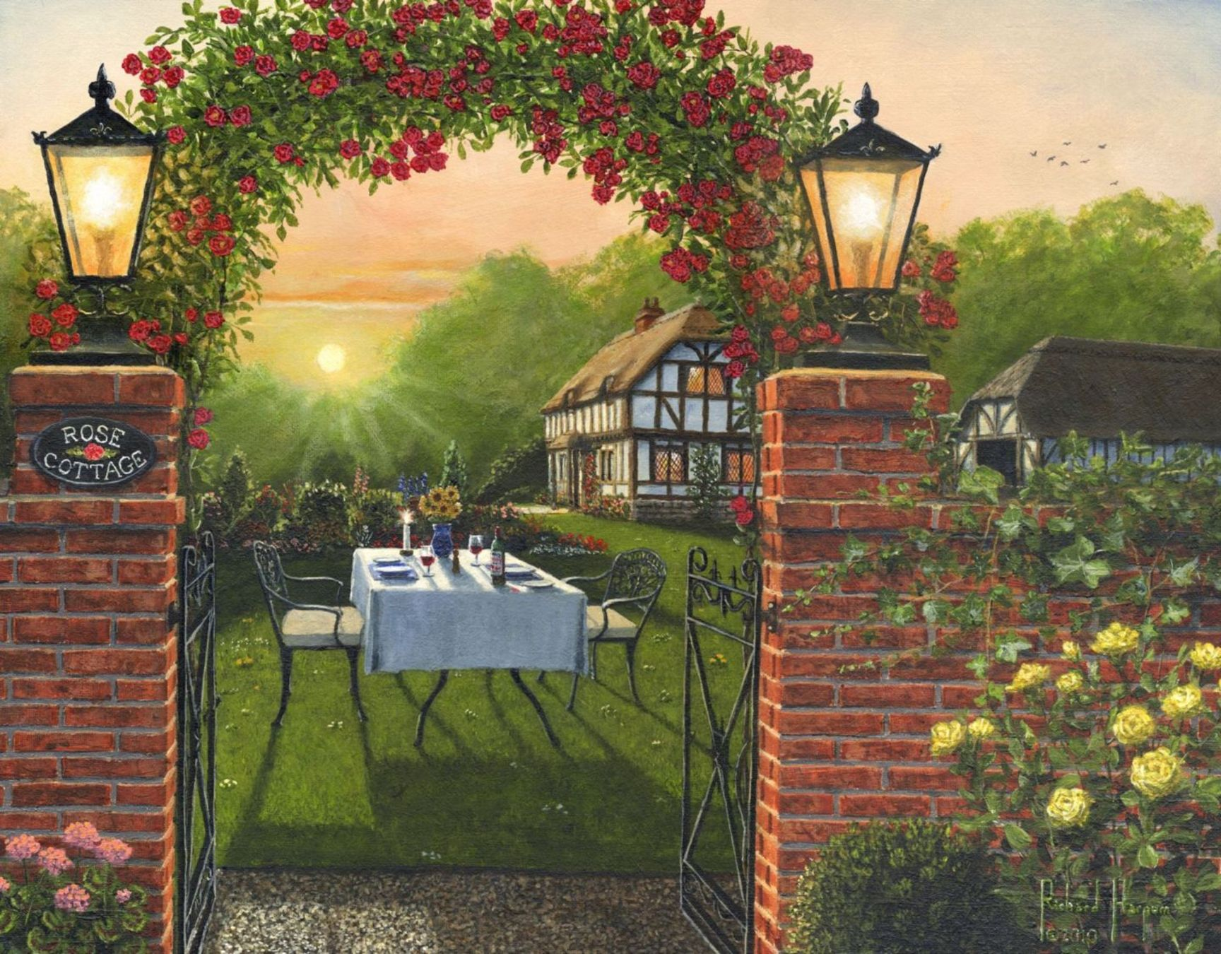 Painting - Rose Cottage - Dinner for Two
