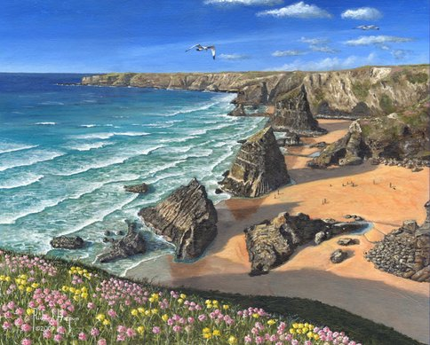 Painting - Evening Light, Bedruthan Steps, Cornwall