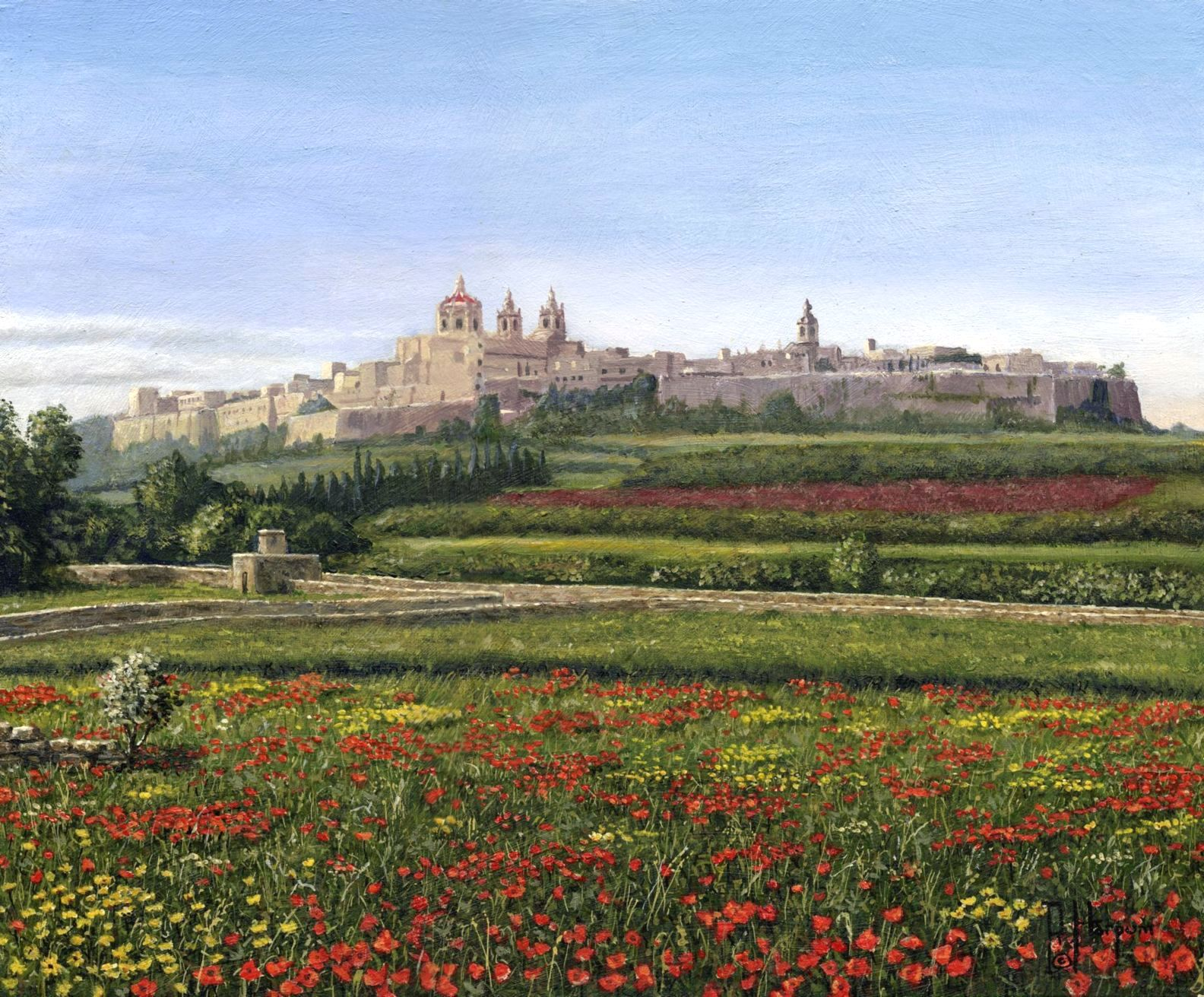 Painting - Mdina Poppies, Malta