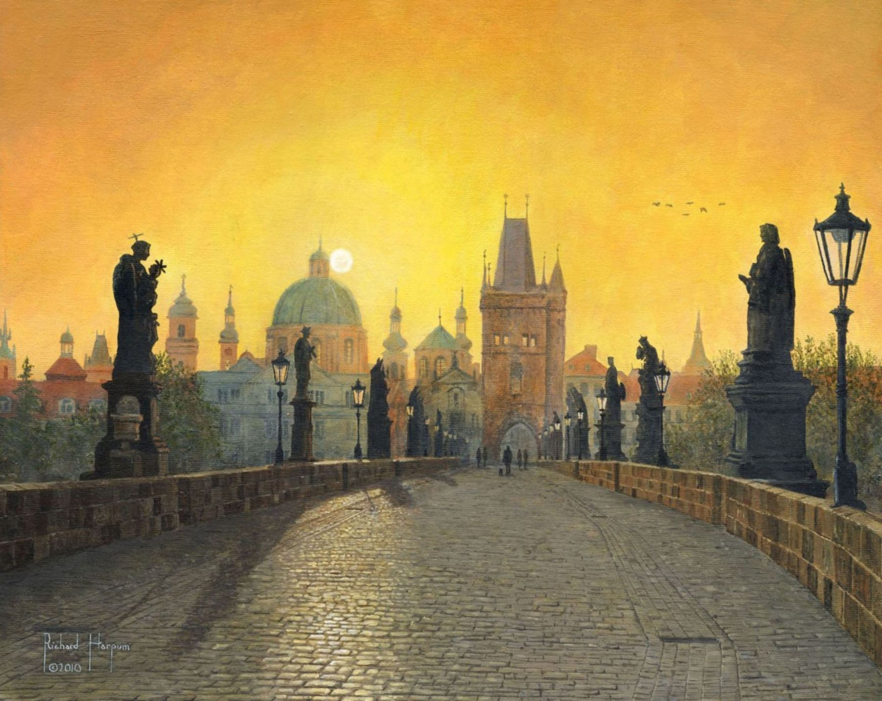 Painting - Misty Dawn on Charles Bridge, Prague