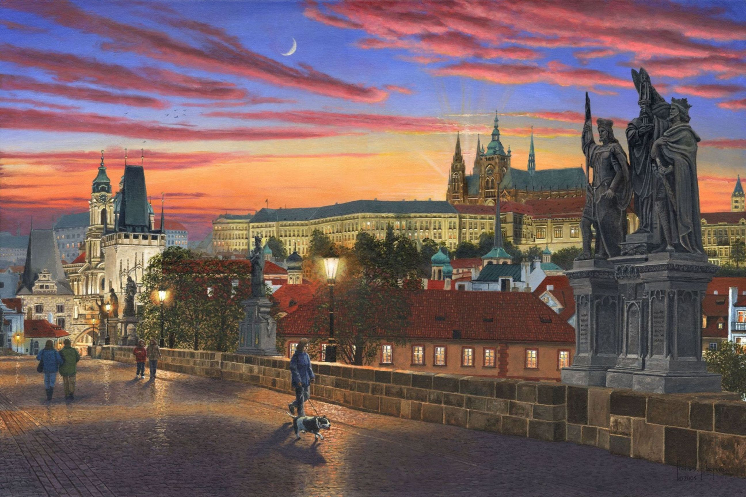 Painting - Prague at Dusk