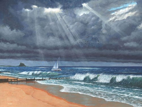 Painting - Raw - Storm over Lindisfarne - Holy Island