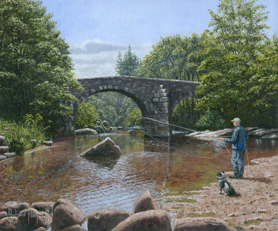 Painting - River Dart Fly Fisherman