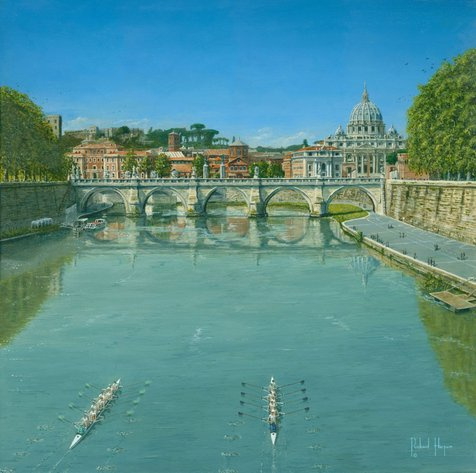 Painting - Rowing on the Tiber, Rome, Italy