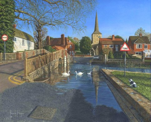 Painting - The Ford at Eynsford, Kent