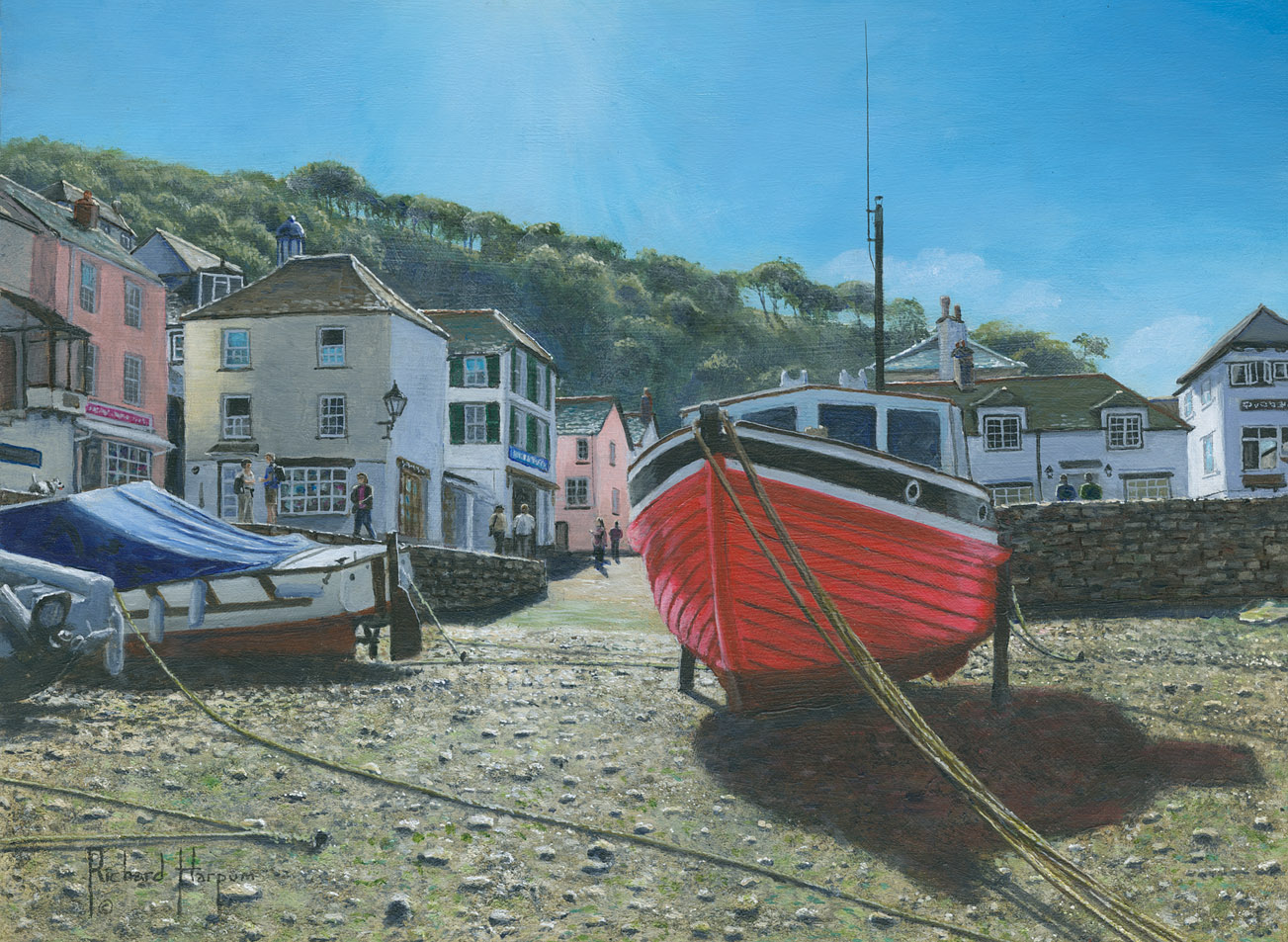 Painting - The Red Boat, Polperro, Cornwall