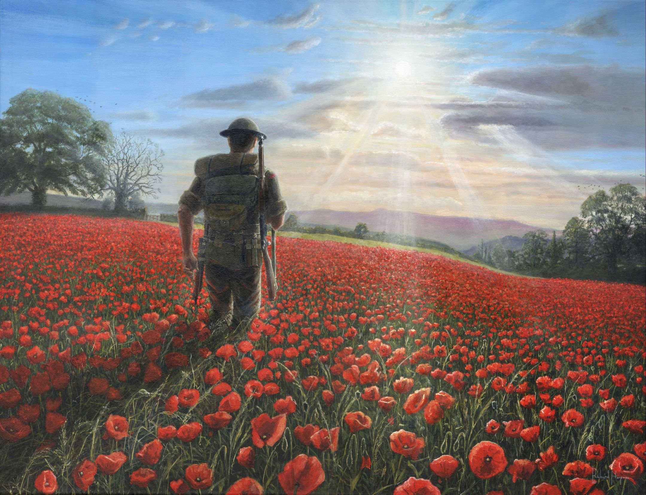 Painting - Tommy - WW1 soldier in poppy field
