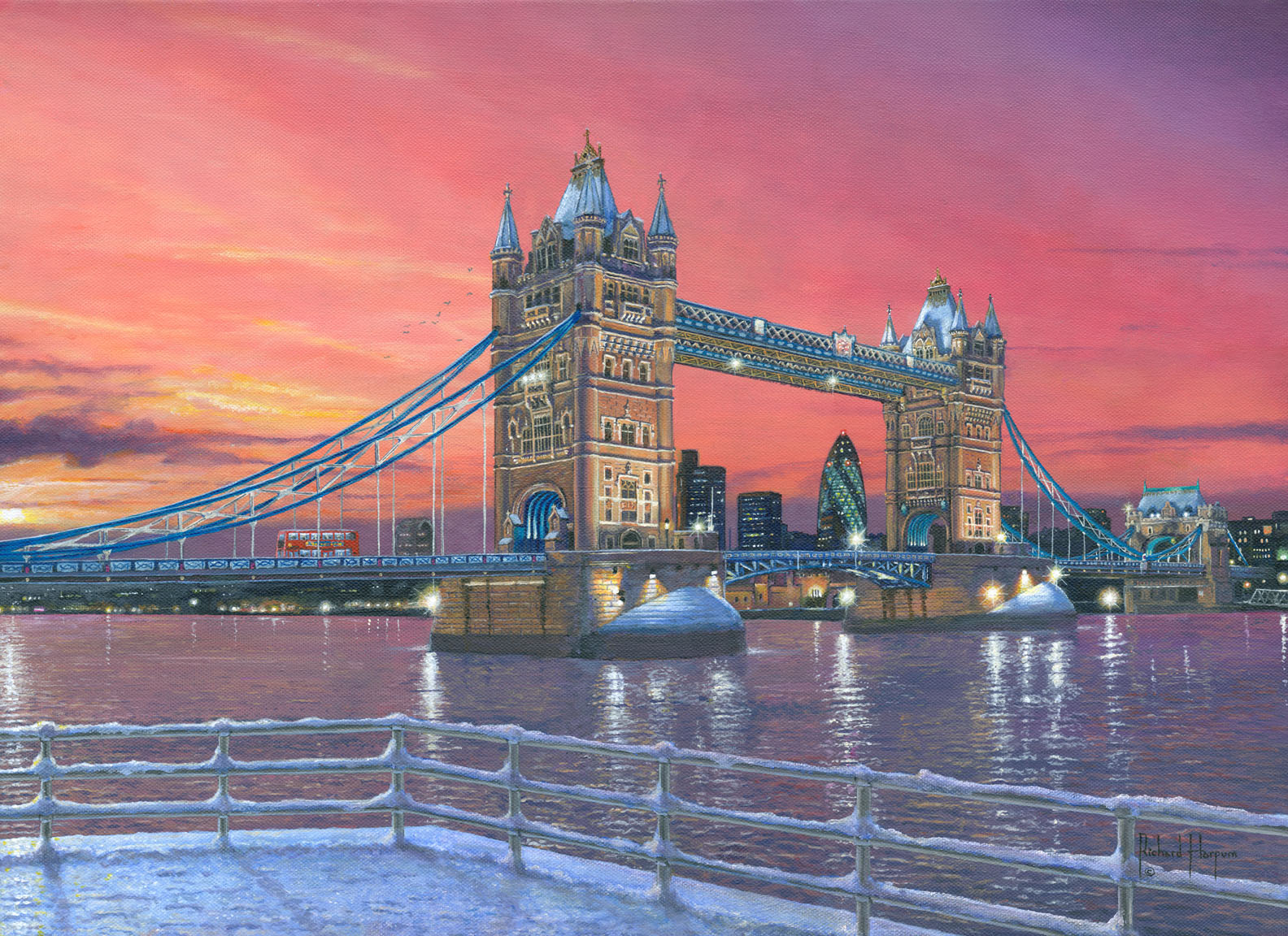 Painting - Tower Bridge after the Snow - London