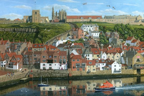 Painting of Whitby Harbour and Abbey, North Yorkshire