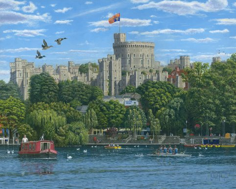 Painting of Windsor Castle from the River Thames, England