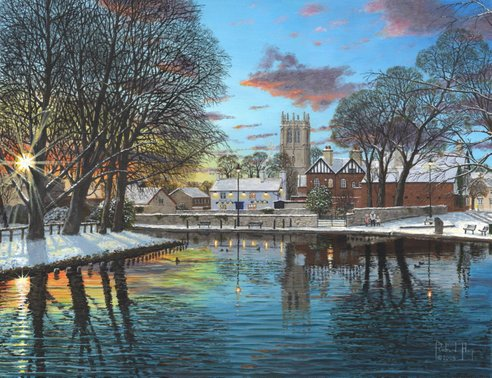 Painting - Winter Evening, Tickhill, Yorkshire