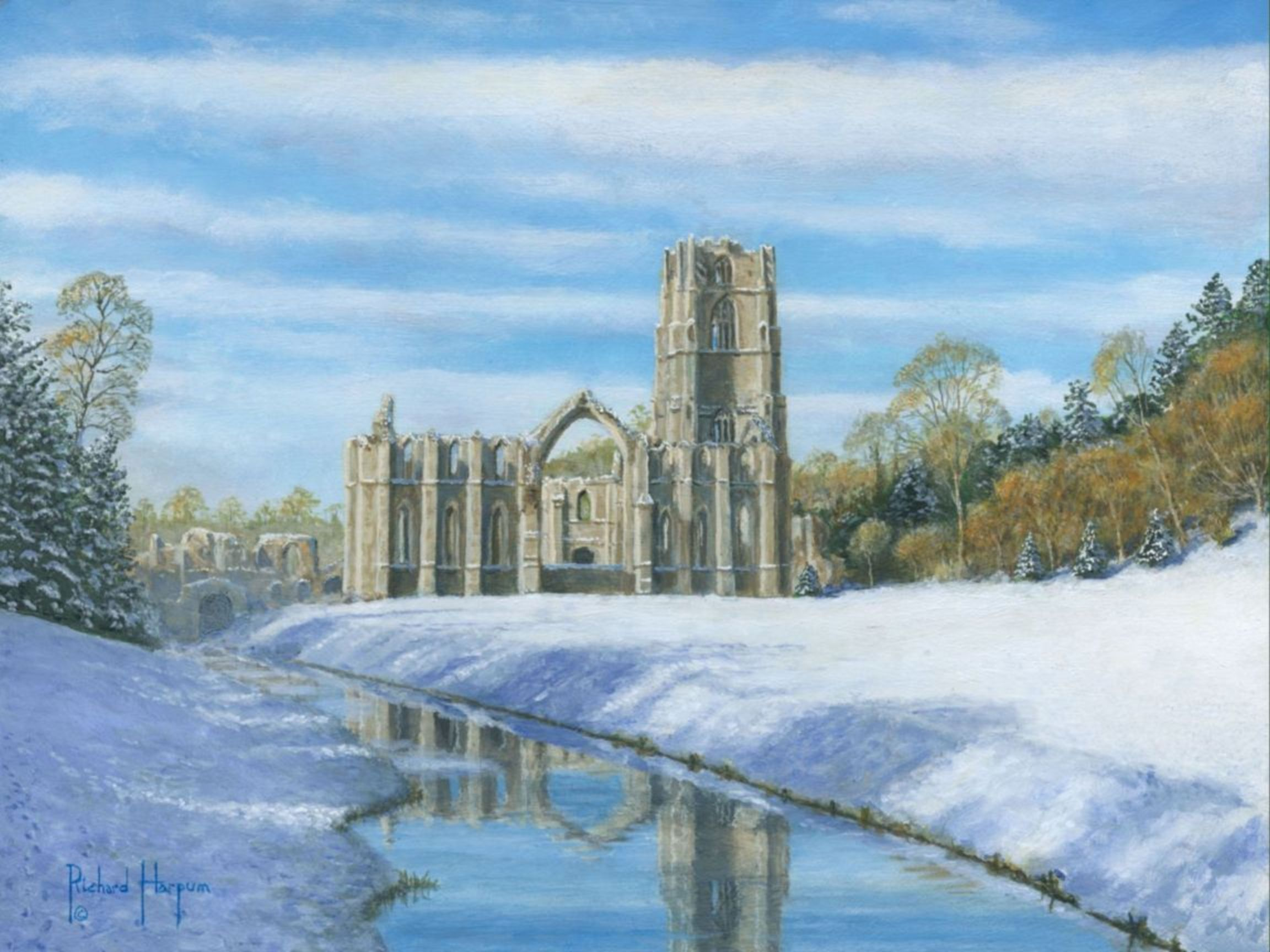 Painting - Winter  Morning, Fountain's Abbey, Yorkshire