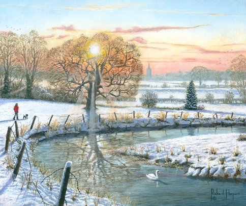 Painting of a winter stroll in the snow in Yorkshire, England