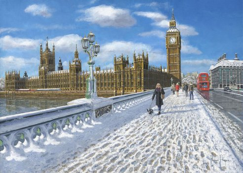 Painting - Winter Sun, Houses of Parliament, London