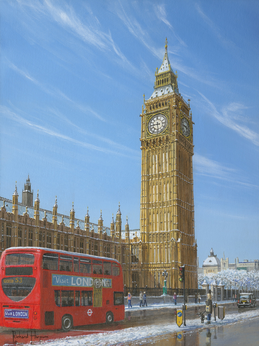 Winter morning big ben elizabeth tower london painting winter morning big ben elizabeth tower london malvernweather Images